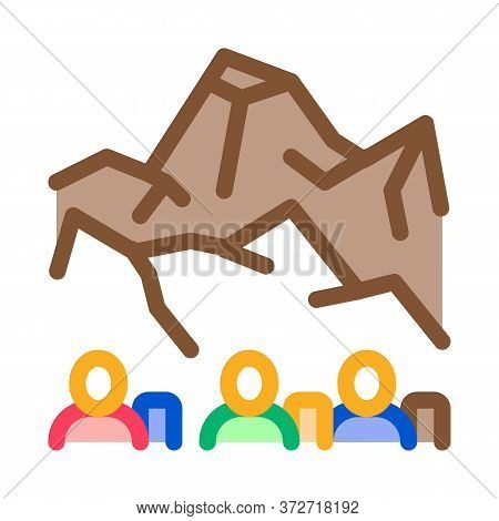 People Rocky Mountain Icon Vector. People Rocky Mountain Sign. Color Symbol Illustration