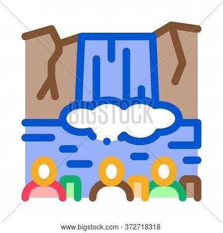 Human Visit Waterfall Icon Vector. Human Visit Waterfall Sign. Color Symbol Illustration