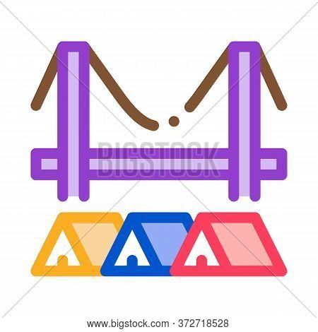 Homeless Tents Under Bridge Icon Vector. Homeless Tents Under Bridge Sign. Color Symbol Illustration