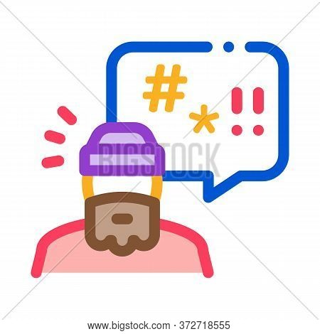Homeless Swearing Icon Vector. Homeless Swearing Sign. Color Symbol Illustration
