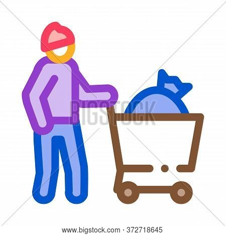 Homeless With Bag In Shop Cart Icon Vector. Homeless With Bag In Shop Cart Sign. Color Symbol Illust