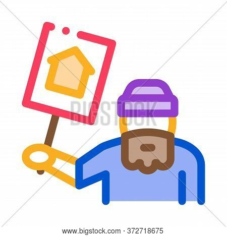 Homeless With Nameplate House Icon Vector. Homeless With Nameplate House Sign. Color Symbol Illustra