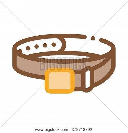 Leather Belt Icon Vector. Leather Belt Sign. Color Symbol Illustration