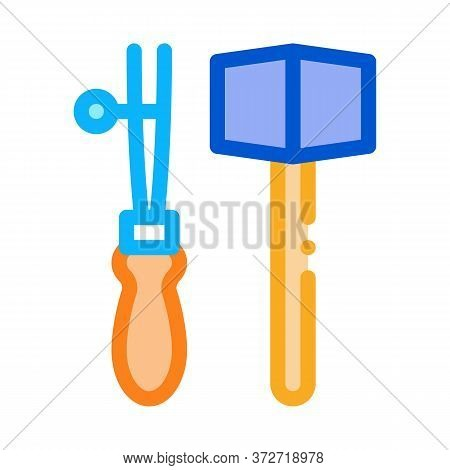 Leather Craft Tools Icon Vector. Leather Craft Tools Sign. Color Symbol Illustration