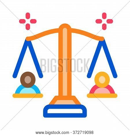 Racial Scales Icon Vector. Racial Scales Sign. Color Symbol Illustration