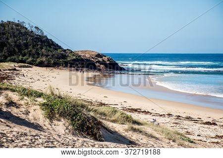 Scenic View Of Beauriful Sandy Bendalong Beach On Sunny Day. Bendalong, Nsw, Australia