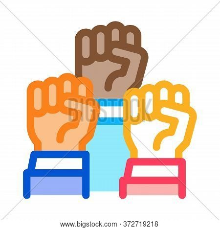 Multiracial Fists Icon Vector. Multiracial Fists Sign. Color Symbol Illustration