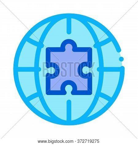 Globe Puzzle Piece Icon Vector. Globe Puzzle Piece Sign. Color Symbol Illustration