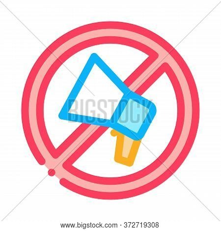 Loudspeaker Crossed Out Sign Icon Vector. Loudspeaker Crossed Out Sign Sign. Color Symbol Illustrati