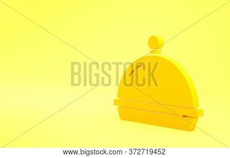 Yellow Covered With A Tray Of Food Icon Isolated On Yellow Background. Tray And Lid. Restaurant Cloc