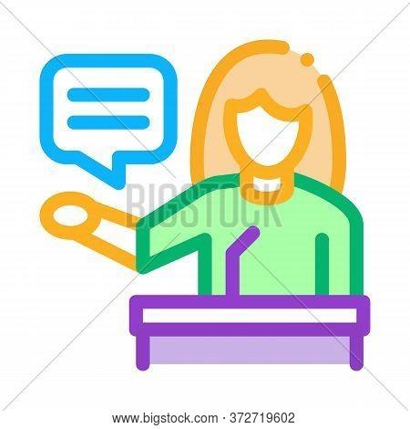 Seminar Woman Teacher Icon Vector. Seminar Woman Teacher Sign. Color Symbol Illustration
