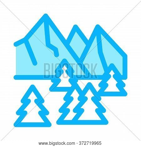 Snowy Mountain And Forest Nature Icon Vector. Snowy Mountain And Forest Nature Sign. Color Symbol Il