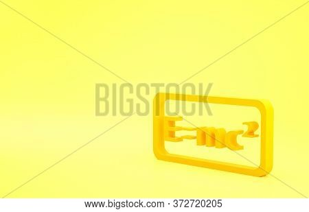 Yellow Math System Of Equation Solution Icon Isolated On Yellow Background. E Equals Mc Squared Equa
