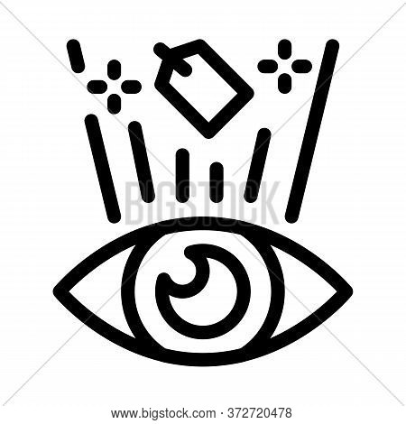 Price Label See Human Eye Icon Vector. Price Label See Human Eye Sign. Isolated Contour Symbol Illus