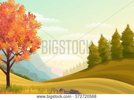 Illustration Of The Landscape. Autumn Tree On A Picturesque Hill Against The Background Of Mountains