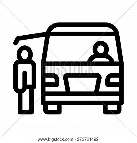 Fast Food Van Vehicle Icon Vector. Fast Food Van Vehicle Sign. Isolated Contour Symbol Illustration