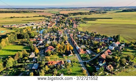 Small Village Surrounded By Field During Sunset, Aerial Photo, Czech Republic.