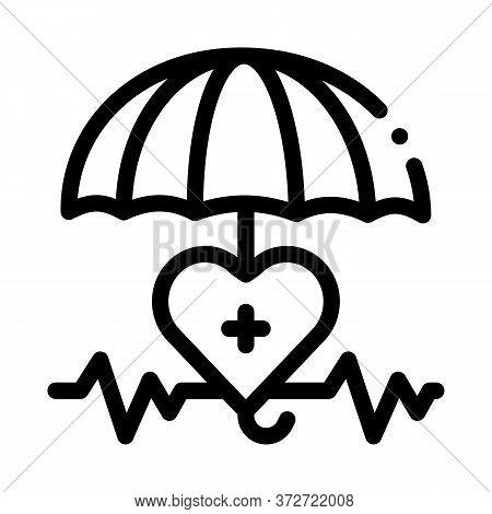 Heart Cardio And Umbrella Icon Vector. Heart Cardio And Umbrella Sign. Isolated Contour Symbol Illus