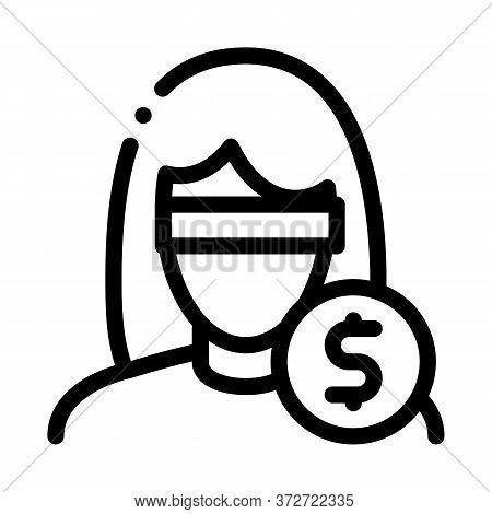 Anonymous Woman Dollar Coin Icon Vector. Anonymous Woman Dollar Coin Sign. Isolated Contour Symbol I
