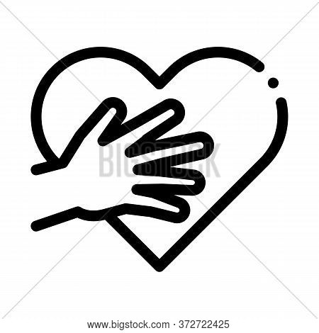Touch Heart Icon Vector. Touch Heart Sign. Isolated Contour Symbol Illustration