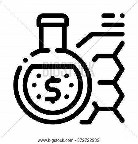 Laboratory Flask With Liquid And Banknote Icon Vector. Laboratory Flask With Liquid And Banknote Sig