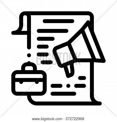 Business Contract Loudspeaker Icon Vector. Business Contract Loudspeaker Sign. Isolated Contour Symb