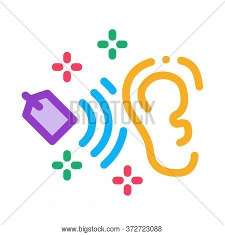 Label Price In Human Ear Icon Vector. Label Price In Human Ear Sign. Color Symbol Illustration