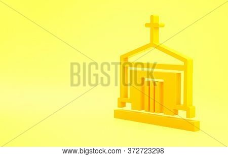 Yellow Old Crypt Icon Isolated On Yellow Background. Cemetery Symbol. Ossuary Or Crypt For Burial Of