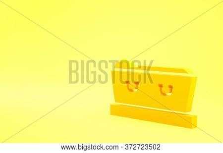 Yellow Open Coffin With Dead Deceased Body Icon Isolated On Yellow Background. Funeral After Death.