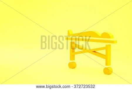 Yellow Dead Body In The Morgue Icon Isolated On Yellow Background. Minimalism Concept. 3d Illustrati