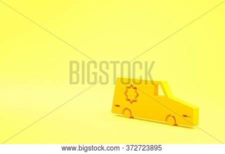 Yellow Hearse Car Icon Isolated On Yellow Background. Minimalism Concept. 3d Illustration 3d Render