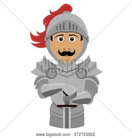 A Noble Knight In Armor With A Sword. Fun And Funny Character Vector Illustration On A White Isolate