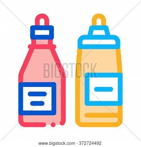 Ketchup And Mayonnaise Sauce Bottles Icon Vector. Ketchup And Mayonnaise Sauce Bottles Sign. Color S