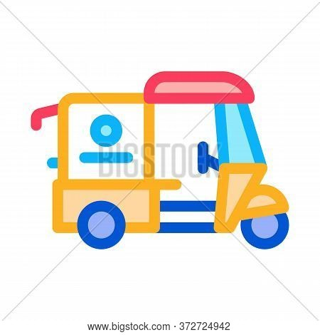 Tuk Tuk Food Delivery Icon Vector. Tuk Tuk Food Delivery Sign. Color Symbol Illustration