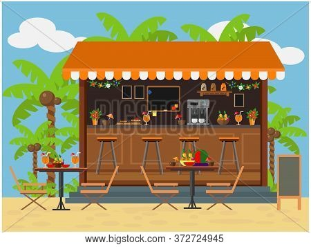 Outdoor Cafe On The Coast For Recreation. Vector Illustration On The Theme Of Vacation And Outdoor R