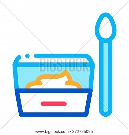 Container With Food And Spoon Icon Vector. Container With Food And Spoon Sign. Color Symbol Illustra