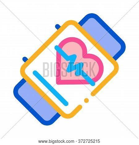 Fitness Bracelet Watch Heart Cardio Icon Vector. Fitness Bracelet Watch Heart Cardio Sign. Color Sym