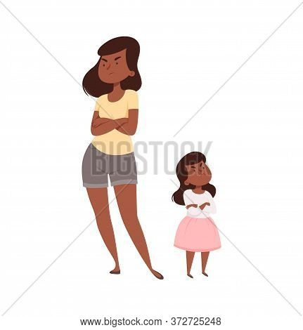 Angry People. Mother And Daughter In Quarrel. Afroamerican Sad Adult Female And Baby Girl. Isolated