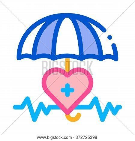 Heart Cardio And Umbrella Icon Vector. Heart Cardio And Umbrella Sign. Color Symbol Illustration