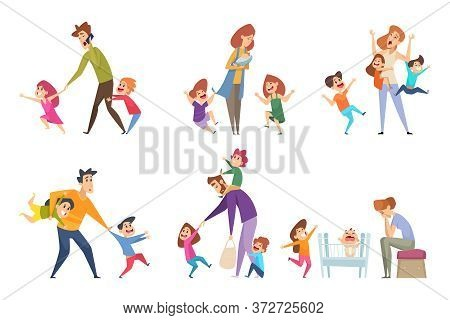 Active Kids. Big Family Tired Parents Playing With Children Adult In Action Poses Vector Cartoon Cha