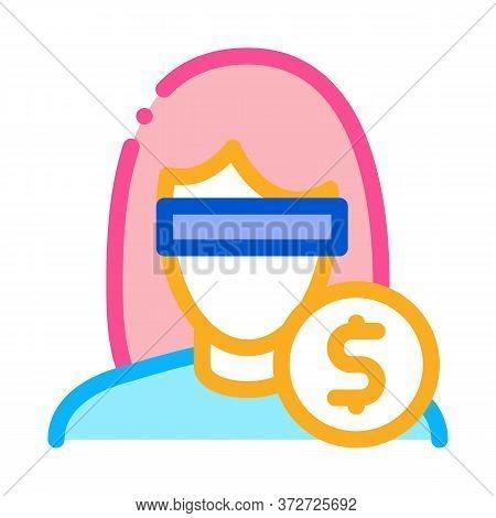 Anonymous Woman Dollar Coin Icon Vector. Anonymous Woman Dollar Coin Sign. Color Symbol Illustration