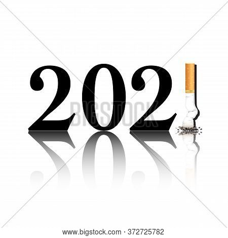 New Year's Resolution Quit Smoking Concept With The I In 2021 Being Replaced By A Stubbed Out Cigare