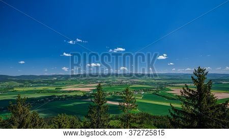 Beautiful View Over Green Colorful Valley With Fields, Czech Republic.