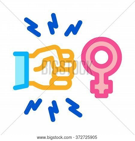 Hit Female Sex Icon Vector. Hit Female Sex Sign. Color Symbol Illustration