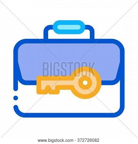 Case And Key Icon Vector. Case And Key Sign. Color Symbol Illustration