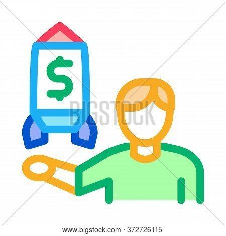 Human Show Money Rocket Icon Vector. Human Show Money Rocket Sign. Color Symbol Illustration