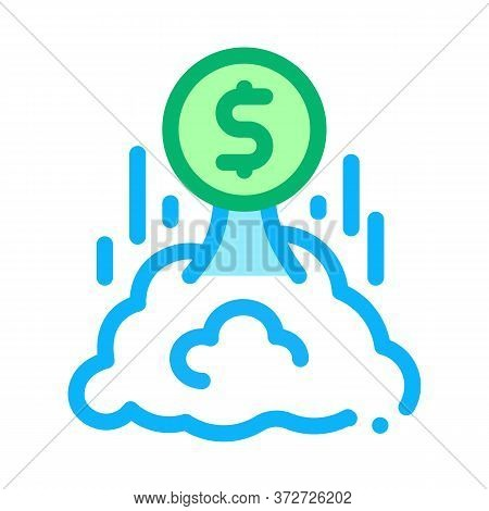 Money Takes Off Icon Vector. Money Takes Off Sign. Color Symbol Illustration