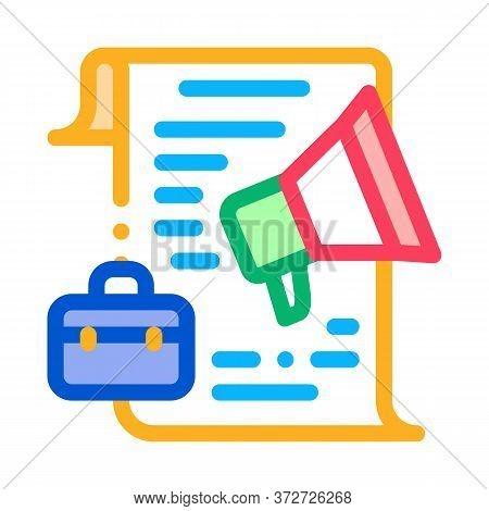 Business Contract Loudspeaker Icon Vector. Business Contract Loudspeaker Sign. Color Symbol Illustra