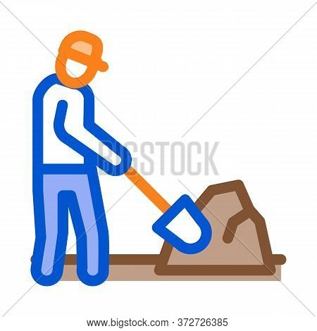 Worker Digging Icon Vector. Worker Digging Sign. Color Symbol Illustration
