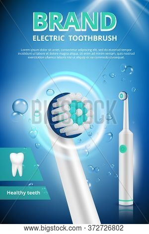 Electric Toothbrush. Advertizing Dental Poster Promotional Picture Of Electrical Toothbrush Clean Hy